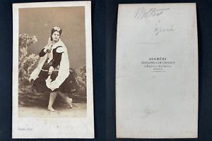 Disdéri, Paris, Eline Volter, danseuse Vintage cdv albumen print CDV, tirage a