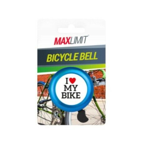 `I LOVE MY BIKE` BICYCLE BELL Hand Ring Cycle Horn Mountain Kids Road BLUE UK