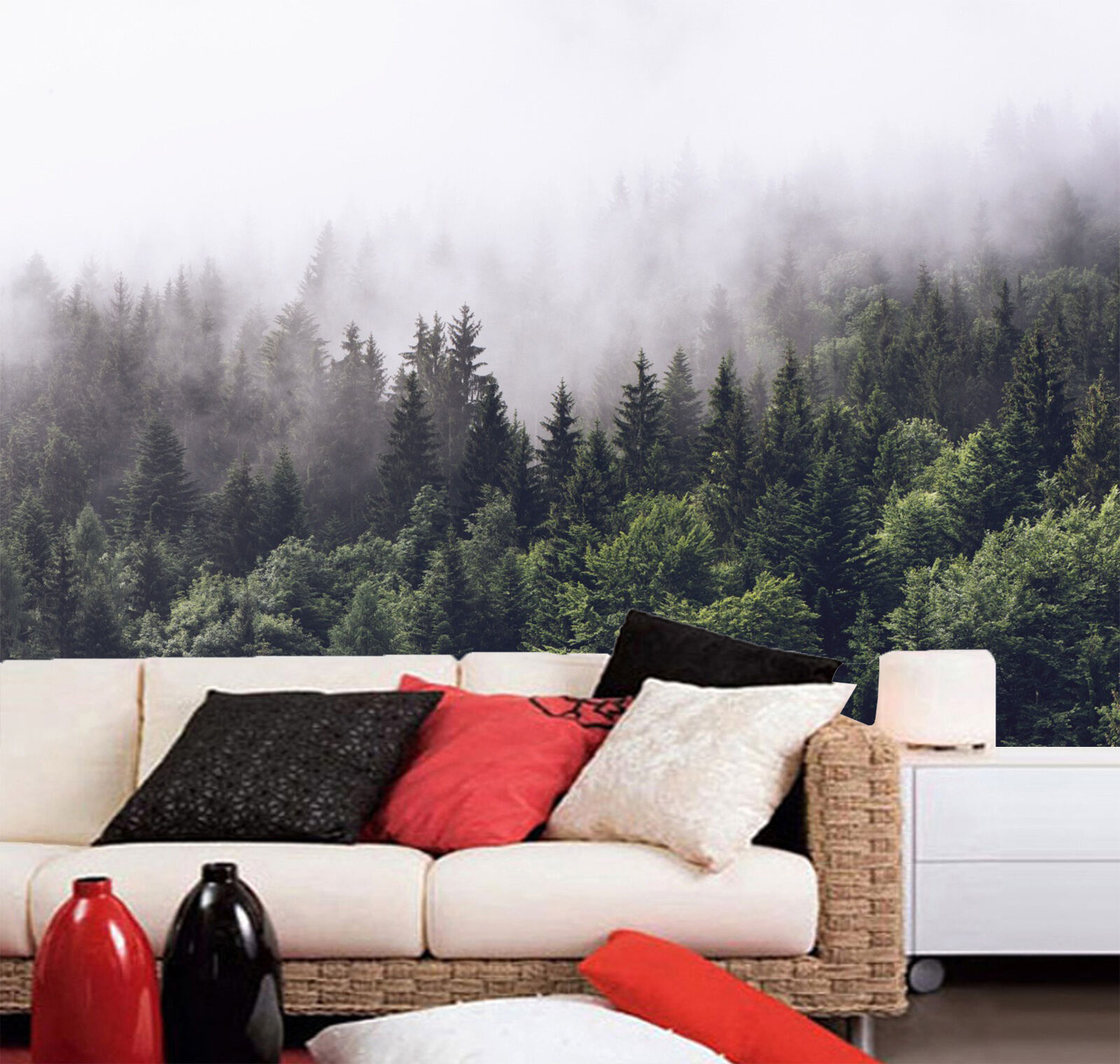 3D Foggy Forest 15 Wall Paper Wall Print Decal Wall Deco Indoor wall Mural Home