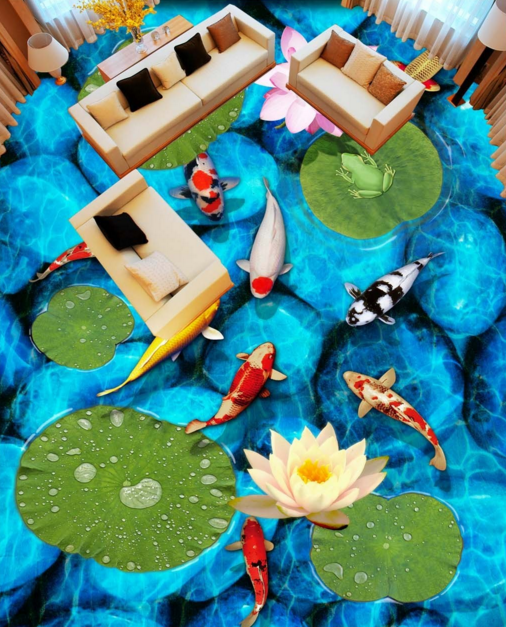 3D Blau Stone Fishs 5 Floor WallPaper Murals Wall Print 5D AJ WALLPAPER UK Lemon