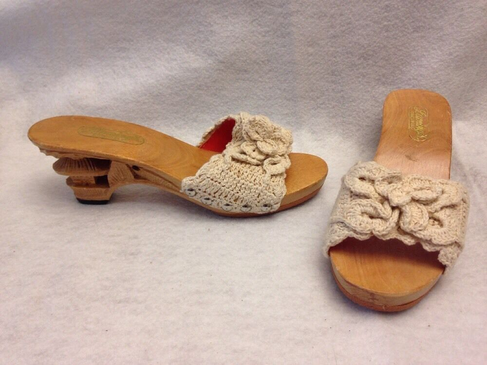 Lumings Original Vintage Hand Carved Crochet Tiki Schuhes Heels Größe 6