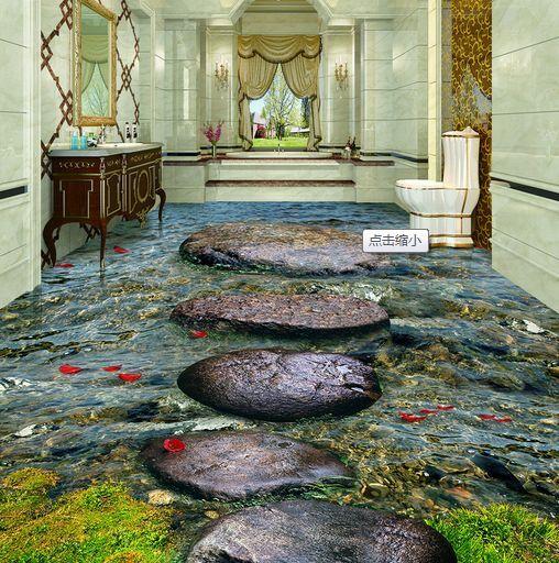 3D Stones Stream Weeds Floor WallPaper Murals Wall Print Decal 5D AJ WALLPAPER