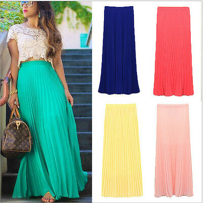Women's Double Layer Chiffon Pleated Retro Long Maxi Dress Elastic Waist Skirt