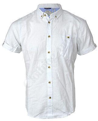 Mens Shirts Threadbare Linen Chambray Short Sleeved Collared Plain Casual Summer