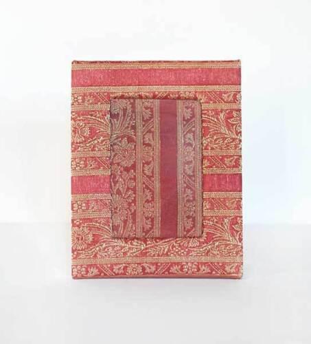 "Handcrafted 4x6"" Photo Frame Red Brocade Sari Fabric"