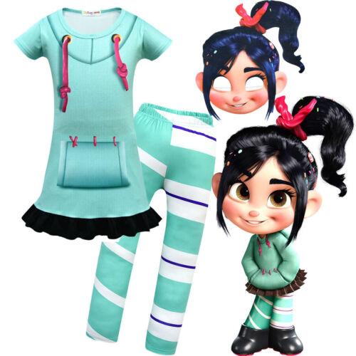 Girls Wreck-It Ralph 2 Vanellope von Schweetz Skirt Pants Mask Cosplay Costume