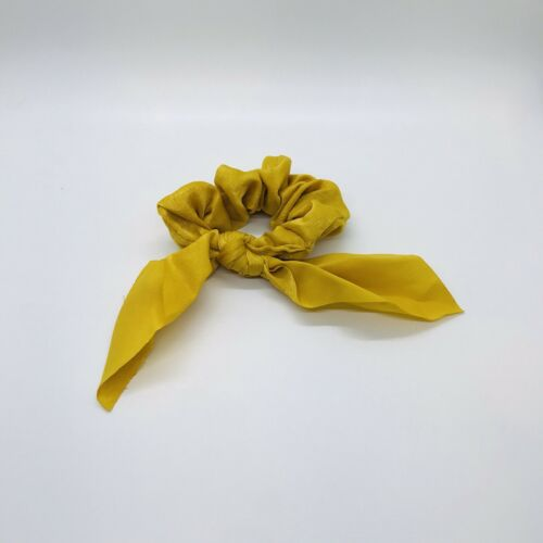 Mustard Yellow Bow Scrunchie Hair Band Elastic Hair Ties Rope Scarf Accessories