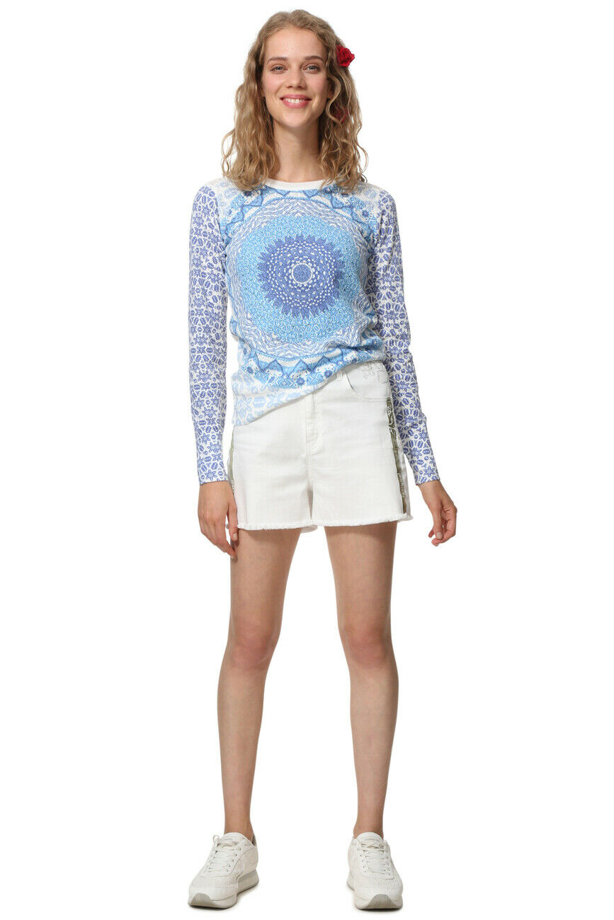 Desigual Lightweight Blau Sparkly Mandala Sora Sweater  XS-XL UK 8-16