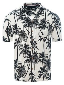 Soulstar-Mens-Cubano-Collar-Short-Sleeve-Summer-Palm-Trees-Hawaiian-Shirt-White