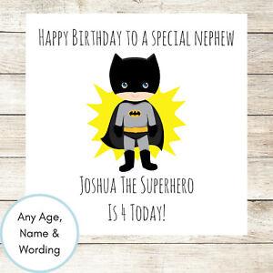 Personalised batman birthday card superhero boys son nephew brother image is loading personalised batman birthday card superhero boys son nephew m4hsunfo