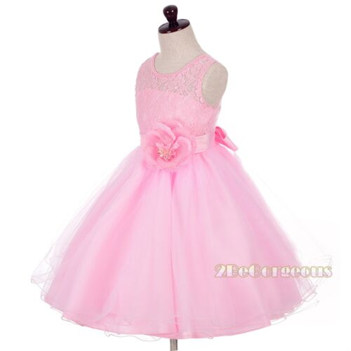 Beaded Lace Illusion Bodice Flower Girl Dresses Up Wedding Party Age 2-10y FG342