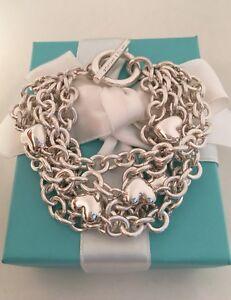 ec1e50b44 Tiffany & Co 5 Multi Strand Chain Puffed Heart Toggle Bracelet RARE ...