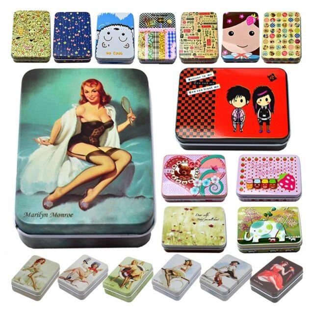Small Storage Jars Rectangular Iron Tin Gift Jewelry Box Holder Home Decoration