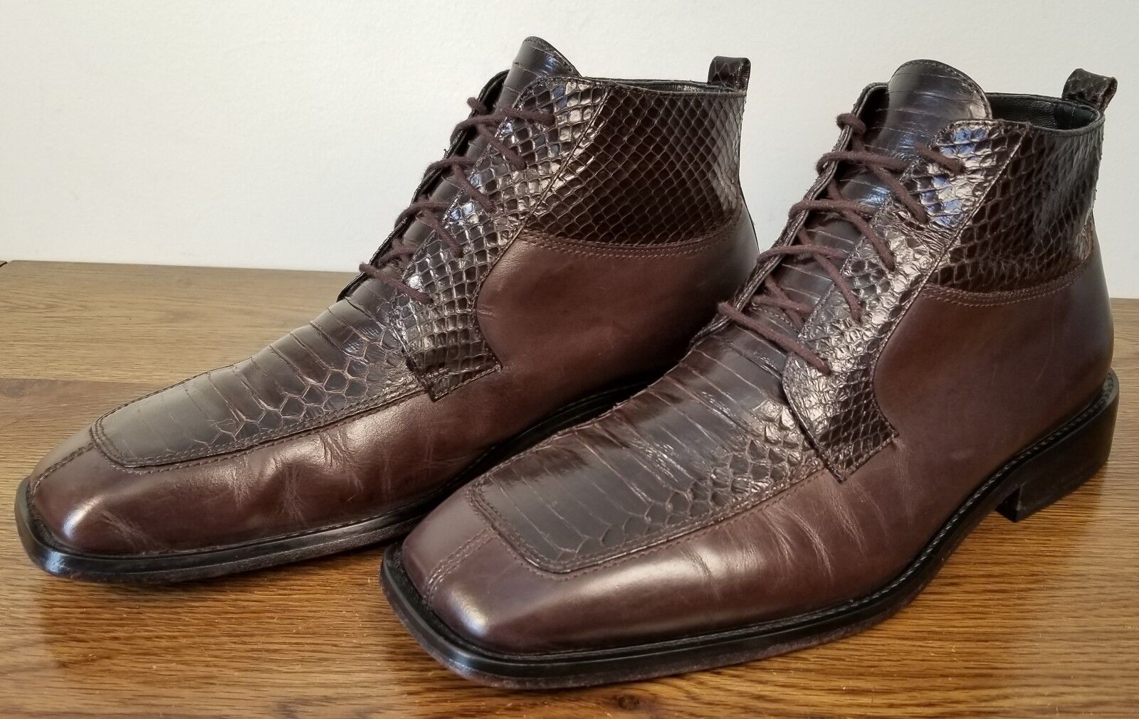 57c00dcb46f6 Giorgio Brutini Brown Genuine Snakeskin Leather Ankle Boots 934022 Men s Sz  8.5M