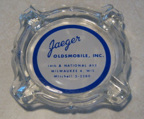 1950/'s Jaeger Oldsmobile Milwaukee WI Glass Advertising Ashtray Mint Never Used