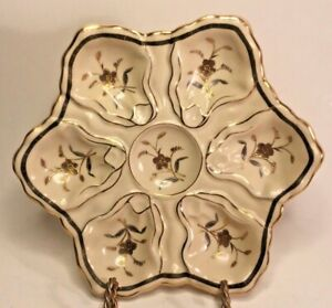 Oyster Plate Antique German Porcelain Oyster Plate Cream /& Gold
