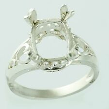 Semi Mount Cushion Shape Ring 8x10 MM Faceted Setting Silver Occasion Jewelry