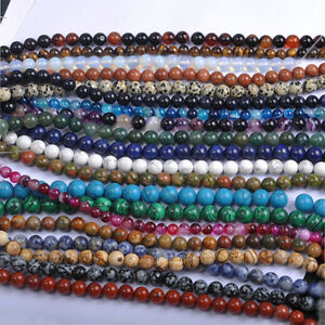 Lots-Natural-Gemstone-Round-Spacer-Loose-Beads-Multi-Color-4mm-6mm-8mm-10mm-12mm