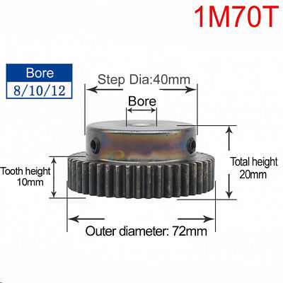 1 Mod 65T Spur Gear Steel Motor Pinion Gear Thickness 10mm Outer Dia 67mm x 1Pcs