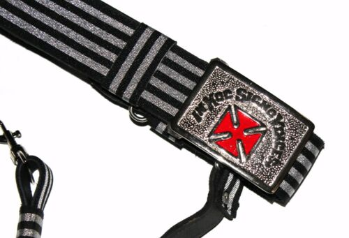 KNIGHTS TEMPLAR SILVER /& BLACK Sword Belt//Buckle Sir Knight Size 44 SILVER//RED