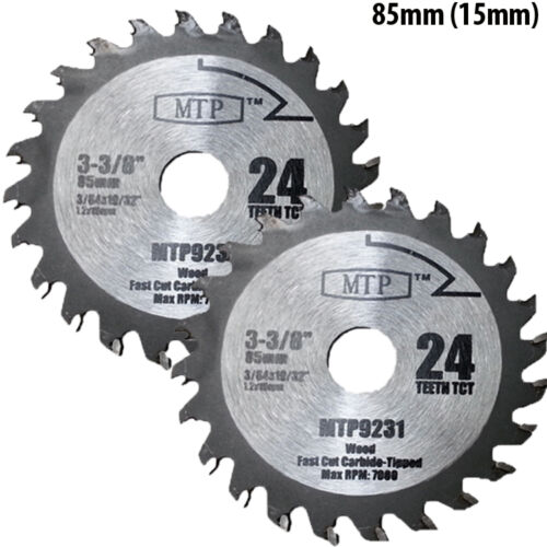 Pack Of 3 85mm X 15mm Arbor Saw Blades For Worx Worxsaw