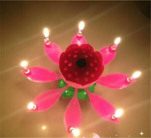 Image Is Loading 1pcs Fashion Lotus Flower Candle Birthday Candles Musical