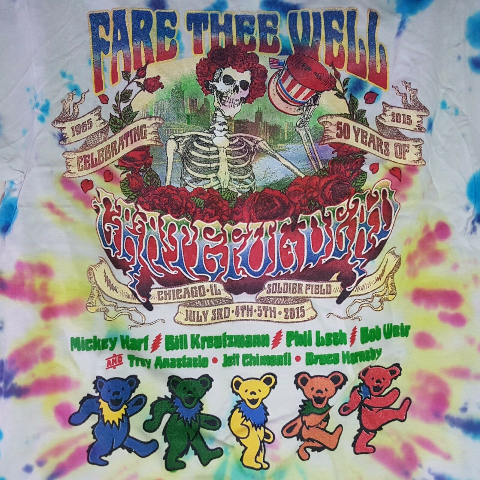 Fare Thee Well 50th Anniversary GRATEFUL DEAD Tie Dye Double Sided T-Shirt Sz S