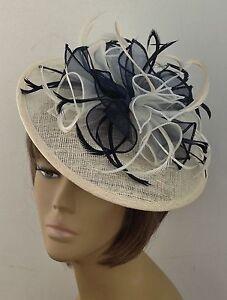 Bespoke Cream/Navy Blue Hat Fascinator Mother Of The Bride ...