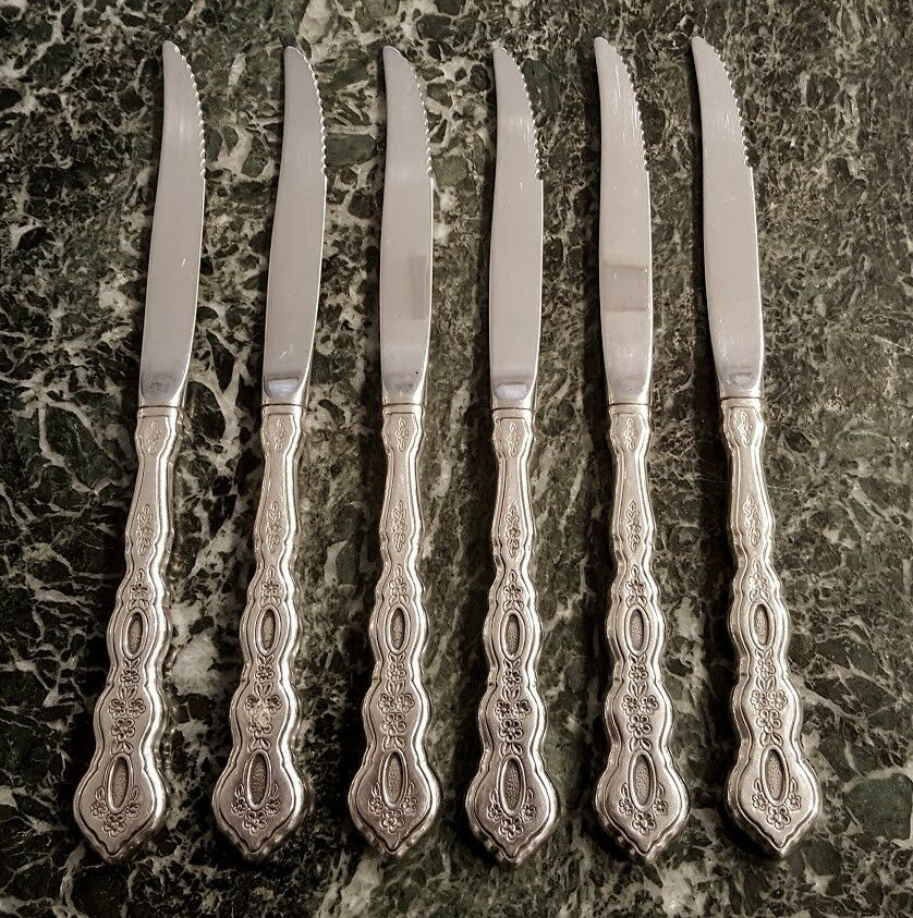 6 ORIGINAL STEAK KNIVES ONEIDA COMMUNITY STAINLESS FLATWARE FANTASY PATTERN RARE