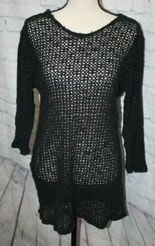 Vintage Women's Net Shirt Open Crochet Knit Mesh B