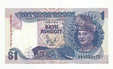 "MALAYSIA  RM1 6th Series 1986 Replacement Prefix BA_1253177  ""UNC"""