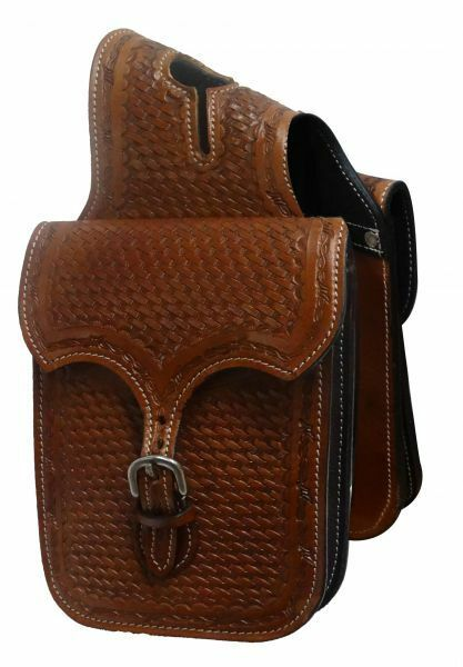 Showman  Tooled leather horn bag. basket weave tooling  buy discounts