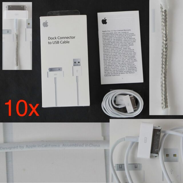 10x GENUINE Authentic Original Apple iPhone 4/4S 30 pin USB Data Cable