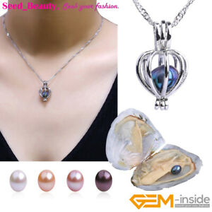 Love-Wish-Pearl-Sliver-Plated-Heart-Cage-Jewelry-Necklace-Pendant-Gift-Oyster