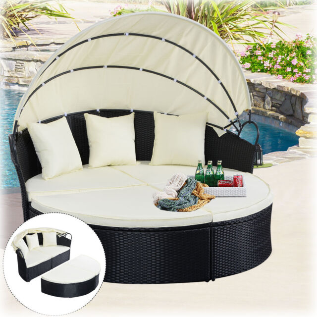 Details about Outdoor Patio Sofa Round Canopy Daybed Garden Furniture Pool  Cushion Lounger New