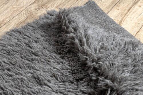 Rund Teppich FLOKATI Hochflor Tierfellteppich grau Langflor Webteppich Wolle