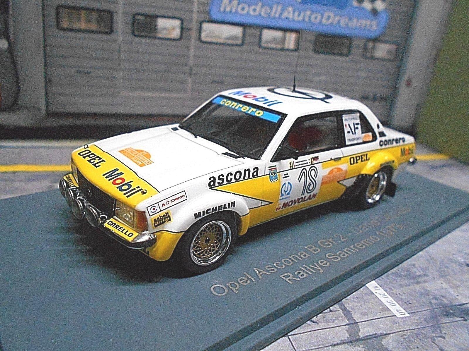 OPEL Ascona B Gr.2 Rallye San Remo 1979  18 Cerrato Conrero Mobil NEO  1 43