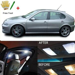 Error Free White 9 SMD LED Interior Lights For Seat Leon 1M 1M1 ...