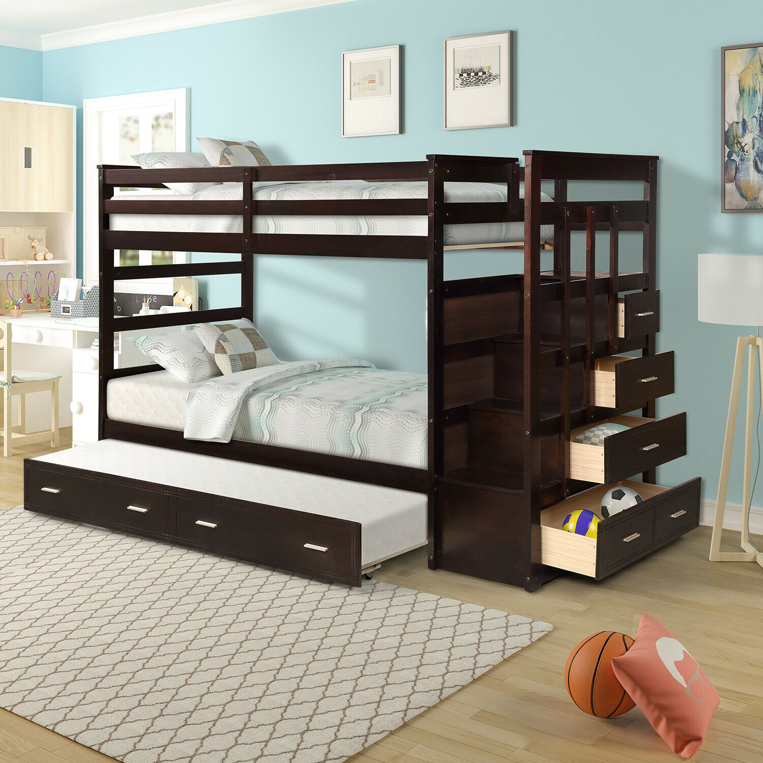 Picture of: Wood Bunk Bed Twin Over Twin Kids Bunk Tiendamia Com