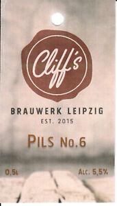 1 Bieretikett Leipzig , Cliff's Brauwerk , Pils No.6