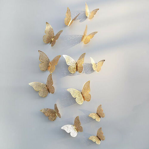 12-Pack 3D Butterfly Art Wall Stickers Decal Living Room Home Decor B Gold