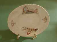"""Antique Childrens Plate 6"""" Diameter Boy with Dog Girl and Mirror"""
