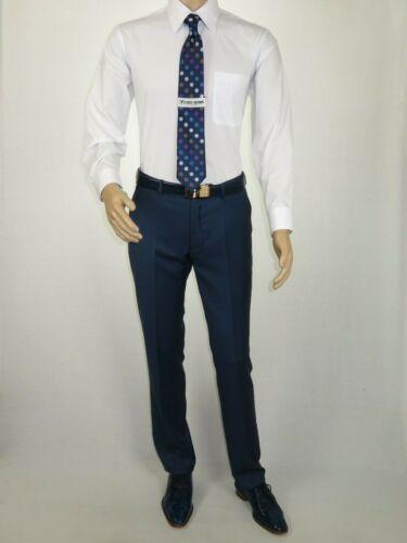 Men TALLIA Suit Wool Blend Sharkskin Texture Double Breasted Vsse2sqx0092 blue