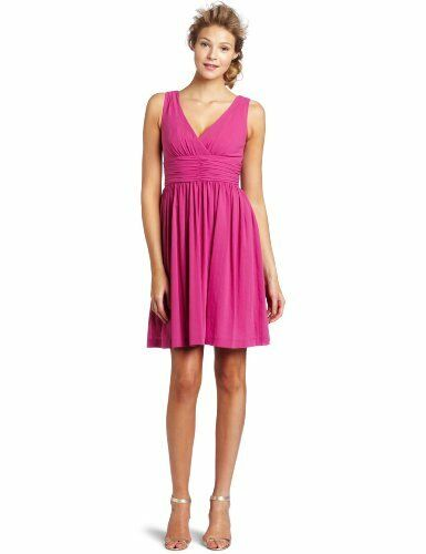 Trina Turk Rosa Reina Dress Ruched Waist Cotton V Neck Sleeveless 4 S Fit Flare