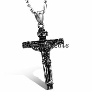 Men-Women-Stainless-Steel-Jesus-Christ-Crucifix-Cross-Pendant-Necklace-22-034