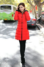 Women Hooded Long Slim Puffer Jacket Quilted Parka Overcoat Winter Coat Fashion#