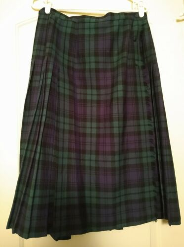 Aljean Size 16 Navy & Green Plaid Laine 100% Wool