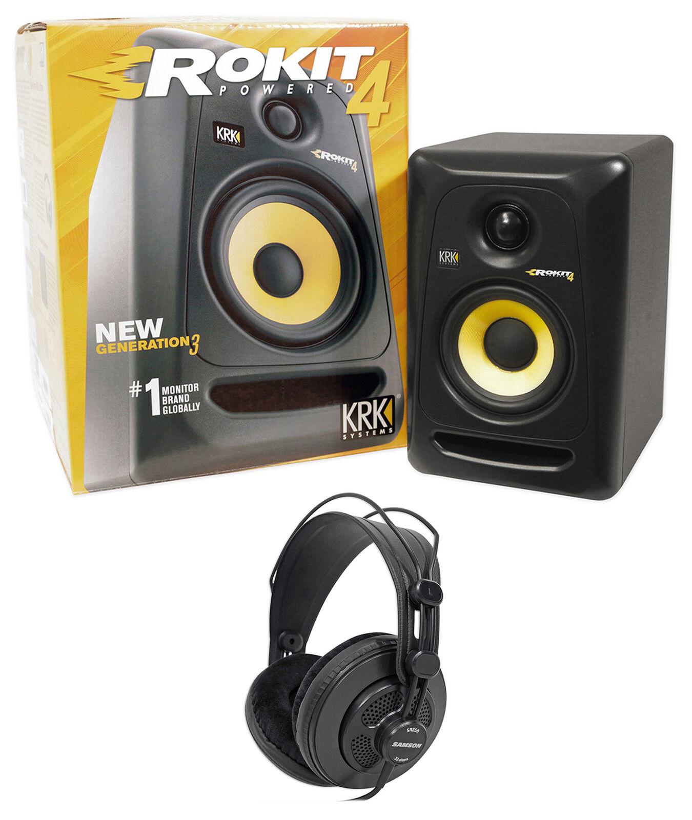 KRK RP4G3 RP4-G3 Rokit Powered 4  Studio Monitor Active Speaker + Headphones