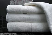 10 x 100% COTTON BATH TOWELS LUXURY 450 GSM JOB LOT - PURE WHITE - Hotel Quality