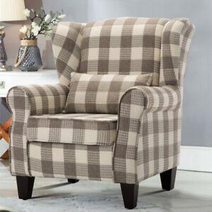 Tartan Check Fabric Single Seat Sofa WingBack Fireside ...
